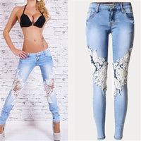 Plus Size Lace Spliced Low-Waist Skinny Jeans Women Streetwear Fashion Front Back Light Color Jeans Long Pencil Pants