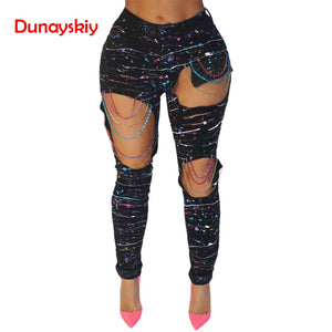 Plus Size New Sexy Jeans with Holes Color Paint Color Chains Ripped Jeans Woman Holes Denim Pants Beggar Jeans Pants for Women