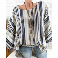 Plus Size New Women Tops Raglan Sleeve Shirt arrival Cotton Linen Striped Baggy Tunic O-Neck Loose Shirt
