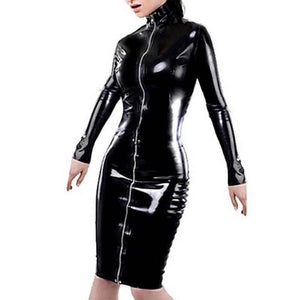 Plus Size Women Black Faux Leather Dress Sexy Long Sleeve Zipper Nightclub
