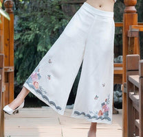 National Flowers Embroidered Wide-legged Pants Ankle-length Loose Female