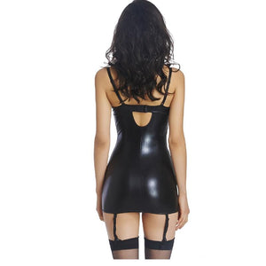 Plus Size Womens Sexy Vinyl Leather Lingerie Babydoll Black Wetlook