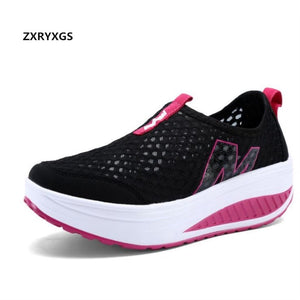 Plus size platform wedges Shake shoes casual sneakers 2018 new fashion summer shoes women sandals mesh breathable casual sandals