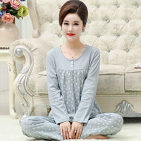 Polka Dot Tee & Pants 2pieces Pajama Set Plus Size M-4XL Round Neck Women Suits 2019 New Spring Long Sleeve Casual Pajama Set