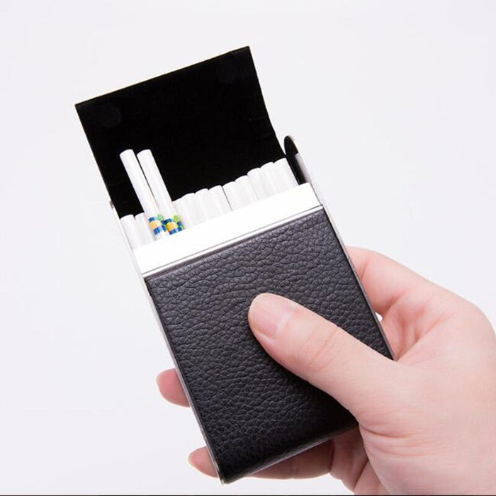 Portable Classic Soft Leather Alloy & PU Cigarette Case Box Metal Holder Cigars Tobacco Protective Cover for Men Women Unisex
