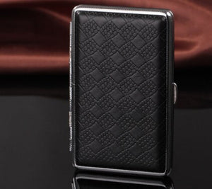 Portable Stainless Steel Cigarette Case For Men Women Pu Leather Metal Personality 20/14 Cigarettes Storage Accessory Z597