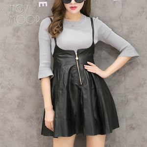 Princess style black genuine leather real strap slip dress spring autumn women mini A-Line dress