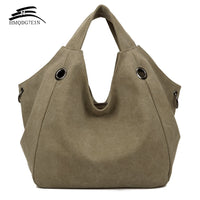 Promotin 100%contton Women Solid Shoulder Bag Fashion Casual Canvas Hobos Handbags High Quality Large capacity Tote Bags