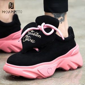 Prova Perfetto 2019 Cute Loving Heart Women Casual Shoe Laces Breathable Sport Sneakers Shoes Woman Platforms Walk Shoes Pink
