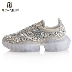 Prova Perfetto 2019 New Platform Sneakers Women Pointed Toe Rhinestone Diamond Crystal Transparent Bottom Casual Shoes Woman