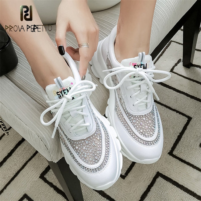 Prova Perfetto Crystal Breathable Mesh Thick Platform Casual Shoes Luminous Leather Lace Up Sneakers Soft Flats Woman Shoes 2019