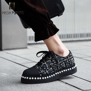 Prova Perfetto Luxury brand flat shoes women loafers string bead vintage British pearls decoration loafers women's shoes zapatos