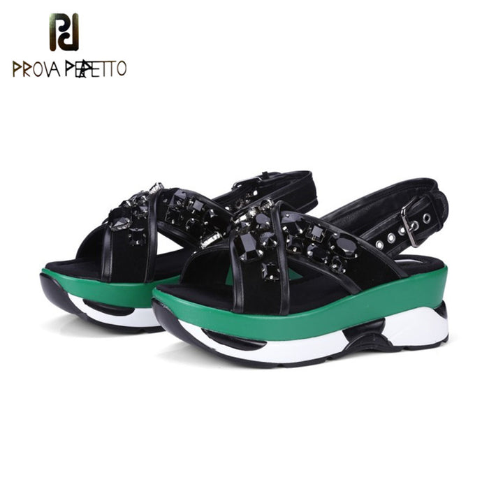 Prova Perfetto Rhinestones Cross Female Wedge Sandals Real Leather Casual Shoes Spell Color High Heel Women Sandals Buckle Strap
