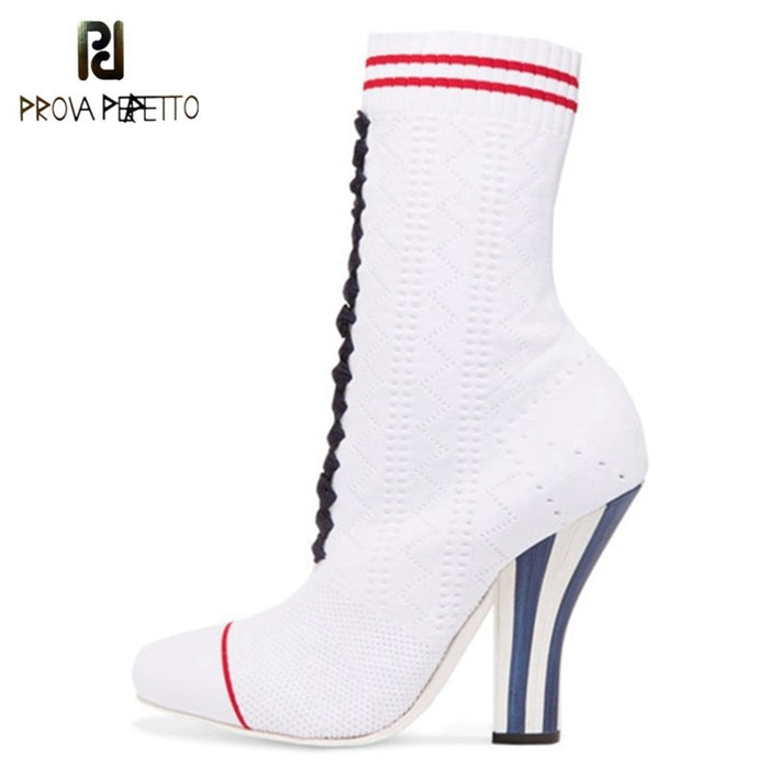 Prova Perfetto Spring Autumn Sock Boots Women Stretch Fabric Boots High Heels Ankle Boots Slip on High Heels Femme Short Boots