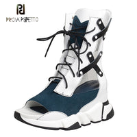 Prova Perfetto hollow out genuine leather patchwork high shoes women boots peep toe lace up sneaker female wedge heels sandals