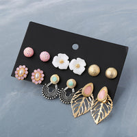 Punk 21Pairs/Set Brincos Mixed Stud Earring Sets For Women Crystal,Pearl,Flowers,Key,Star,Bow,Moon,Elephant Earrings Jewelry