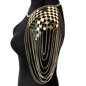 Punk Metal Statement Necklaces Women Collar Shoulder Long Chain Pendants Necklaces Sexy Body Jewelry Accessories UKMOC