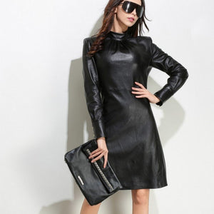 Long Sleeve Stand Collar Dress Female New Fashion Vestidos Genuine Leather