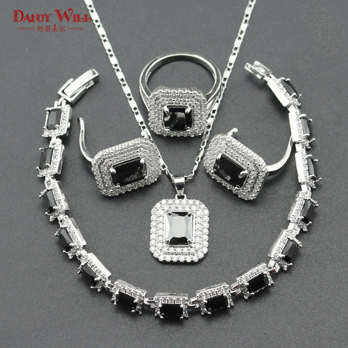 Pure Black Zircon Silver Color Bridal Jewelry Sets Women Bracelets Pendant&Necklace Earrings Rings With Stones Jewelery Gift Box