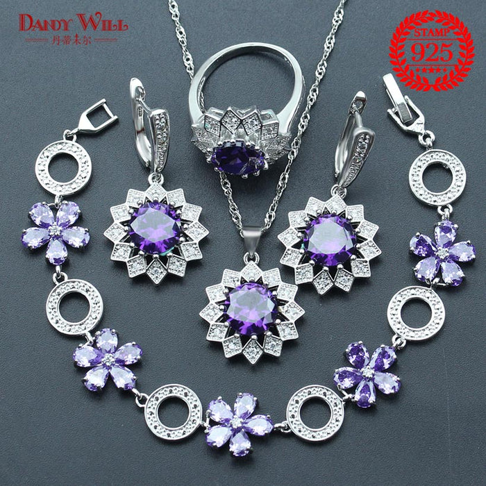 Purple Zircon Silver 925 Bridal Jewelry Sets Women Earrings With Stones Pendant/Ring/Bracelets Set For Weeding Free Jewelery Box