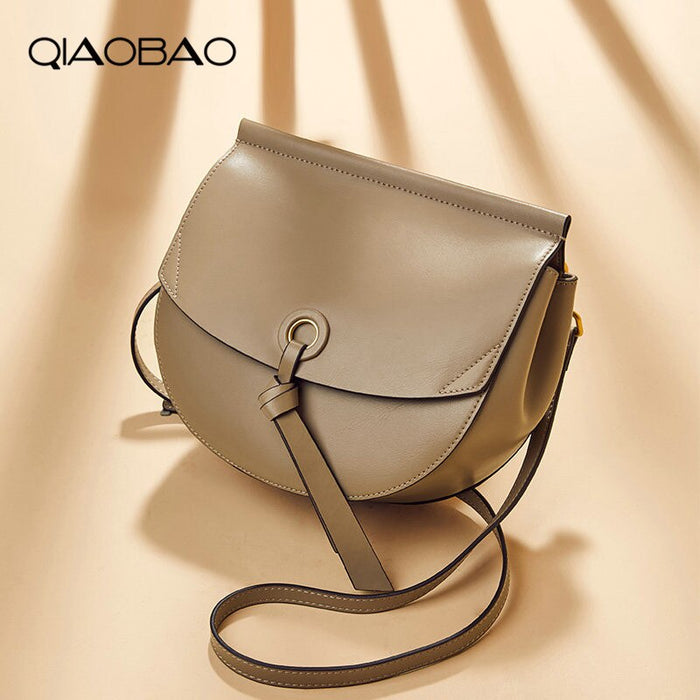 QIAOBAO Retro 100% Cowhide Leather Saddle Bags Women Shoulder Bags Women Handbags Width Strap Ladies Solid Messenger Bag Female