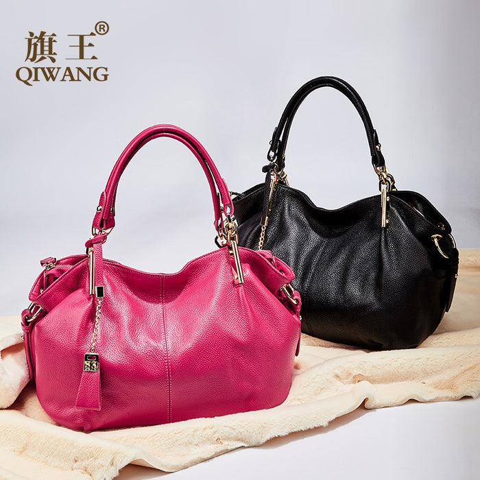 Qiwang Women Genuine Leather Hobo Bag Real Leather Handbag Luxury Brand Woman Office Fashion Bag Large Gorgeous Shoulder Bags