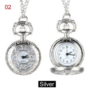 Quartz Pocket Watch Alloy Chain Hollow Out Flower Flip Cover Vintage Pendant Watches for Women NGD88
