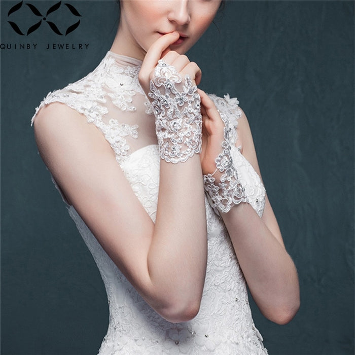 Quinby Short Wedding Bridal Gloves Lace Bridal Gloves Fingerless