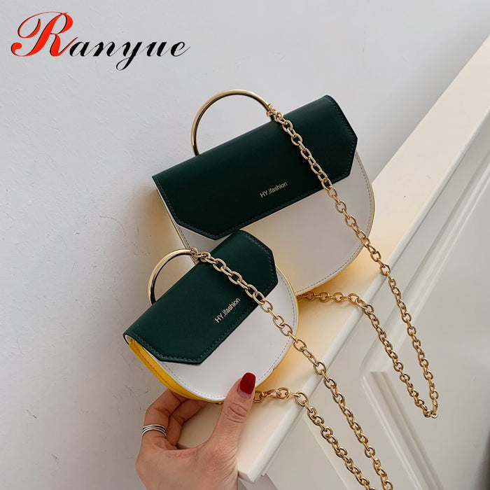 RANYUE Fashion Saddle Bags Luxury Metal Handle Handbag Crossbody Bags Women Shoulder Mini Panelled Bag Girl Green Messenger Bag