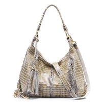 REALER Brand genuine leather women large shoulder bag female crocodile pattern hobos bag with tassel women handbag