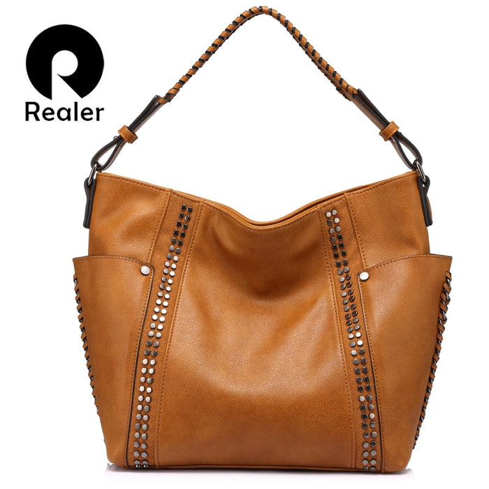 REALER brand fashion women shoulder bag female casual tote bag ladies handbag large capacity with Rivet and Ruched Brown/Gray