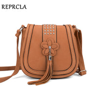 REPRCLA Luxury Flower Tassel Women Bags Designer Handbags Rivet Messenger Bags High Quality PU Leather Crossbody Shoulder Bag