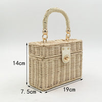 REREKAXI Hand-woven Wicker Women's Shoulder Bags Bohemian Female Messenger Bag Rattan Straw Beach Bag Small Box Handbag Totes