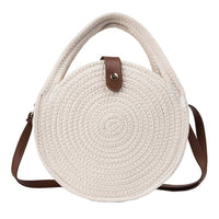 REREKAXI Round Women's Shoulder Bag Cotton Rope Woven Handbag Bohemian Straw Beach Bags Handmade Female Messenger Crossbody Bag