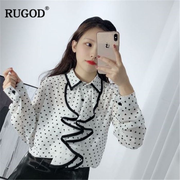 RUGOD Korean ruffles long sleeve shirt office ladies Fashion LOVE printed turn-down collar women blouse 2019 new spring tops