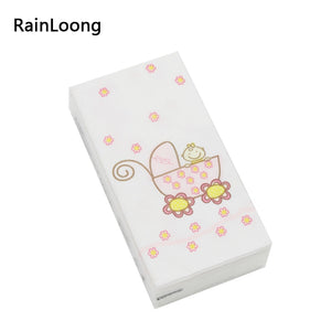 [RainLoong] Cartoon Printed Pocket Paper Napkin Tissue Handkerchiefs For Decoration Personal 10pcs