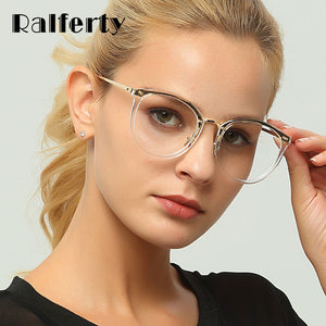Ralferty Transparent Glasses Trendy Eyeglass Woman Frame Female Optic Frames Clear Lens Eyewear Accessories oculos de grau D156