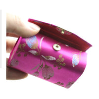 Random Color ! 1pc Double case Womens Silk Brocade Craft  Lipstick Holder case with mirror  Makeup Tools
