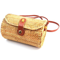 Rattan Bags For Women Handmade Wicker Woven Purse Handbag Circle Boho Bag Bali Color: Adele Ata Grass (Brown)