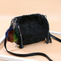 Real Fur Bags Women Black Genuine Leather Bag Tassel Rivet Barrel Shaped Handbag Ladies Hand Crossbody for 2019 Sac a Main Femme