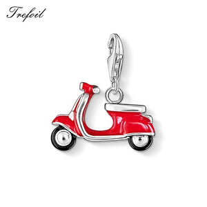 Red Motorcycle Sports Car Bus Taxi Charm Pendant,Jewelry 925 Sterling Silver Gift For Women Men Boy Girl Fit Bracelet Necklace