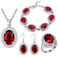 Red Zircon Costume Silver 925 Jewelry Sets Women Pendant&Necklace Ring Earrings With Natural Stones Bracelets Jewelery Gift