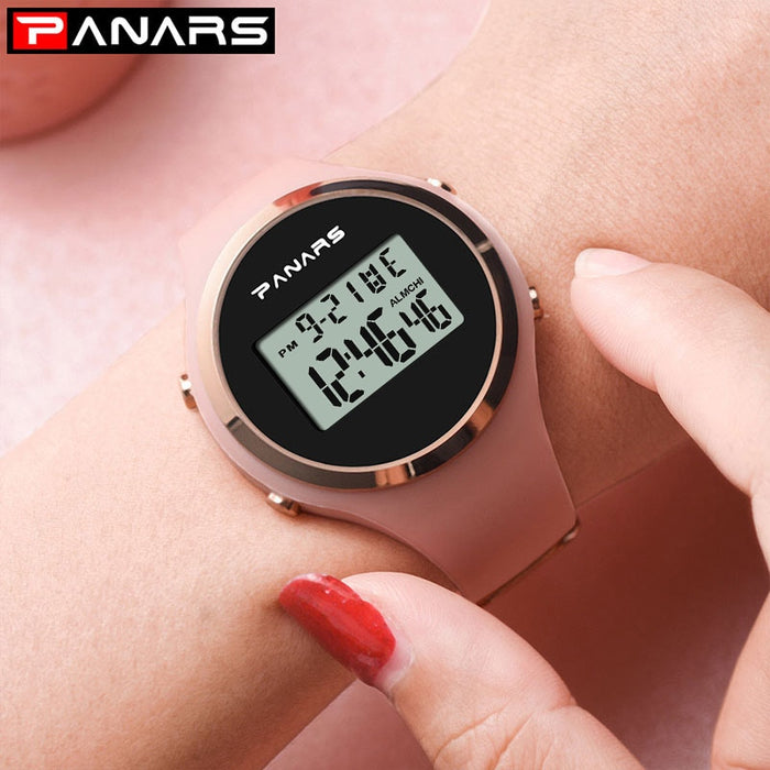 Relogio Feiminino Digital Watch Women 50M Waterproof Electronic Sports Watch For Women Fitness Rubber Wrist Watch Lady LED Pink