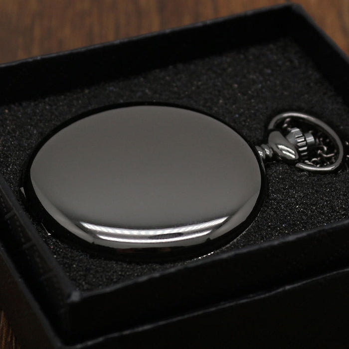 Retro Black Fashion Silver Smooth Steampunk Quartz Pocket Watch Stainless Steel Pendant 30CM Chain for Men Women with Gifts Box