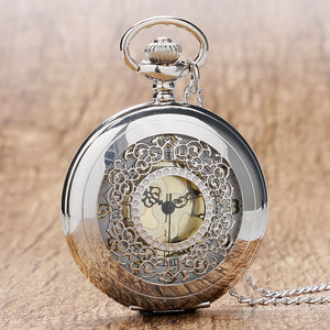 Retro Hollow Silver Tone Quartz Pocket Watches Women Men Watch Necklace Pendant with Chian 2018 High Quality Luxury Gift