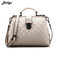 Retro Women's Plaid Pattern Doctor Handbag Solid Crossbody Bag Rhombus PU Leather Shoulder Bag Fashion Hasp Female Bolsos