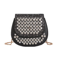 Rhinestone Bright Women Handbags Luxurious Bright Woman Saddle Bags Leather Ladies Crossbody Bag Designer Purses and Handbags
