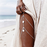 Rhinestones Leg Thigh Chain Shiny Women Sexy Body Chain Leg Thigh Harness Jewelry Beach Multi Layers Gold Color Chains