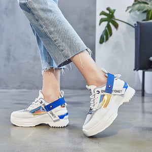 Rimocy 2019 Summer Fashion Breathable Sneakers Woman Sexy High Platform Women Shoes Comfortable Mesh Casual Shoes Female