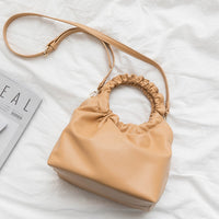 Ring Handle Folded Handbag Women New Fashion Korean Retro Soft Simple Solid Small Hobos Shoulder Bag Ladies Personality Casual